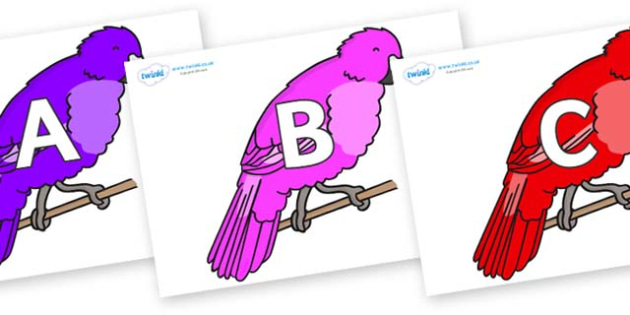 A-Z Alphabet on Parakeets - A-Z, A4, display, Alphabet frieze, Display letters, Letter posters, A-Z letters, Alphabet flashcards