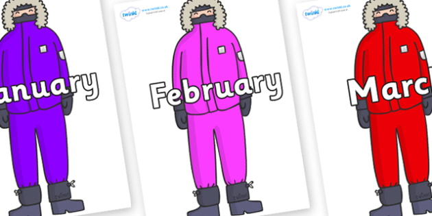 Months of the Year on Arctic Explorers - Months of the Year, Months poster, Months display, display, poster, frieze, Months, month, January, February, March, April, May, June, July, August, September