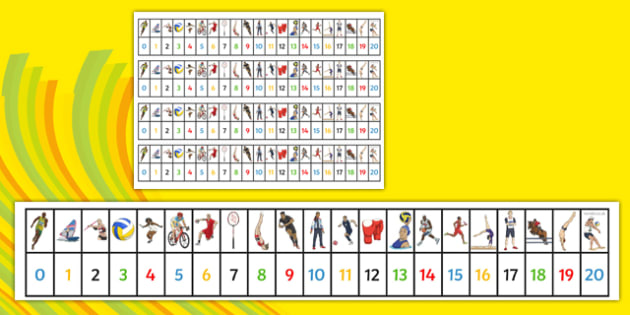 The Olympics Number Track (1-20) - Olympics, Olympic Games, sports, Olympic, London, 2012, Maths, Math, number track, toys, numbertrack, Counting, Numberline, Number line, Counting on, Counting back, activity, Olympic torch, flag, countries, medal, O