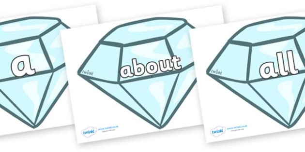 100 High Frequency Words on Diamonds - High frequency words, hfw, DfES Letters and Sounds, Letters and Sounds, display words