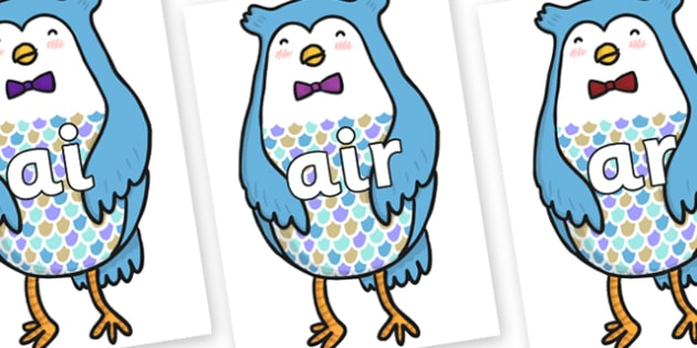 Phase 3 Phonemes on Owl - Phonemes, phoneme, Phase 3, Phase three, Foundation, Literacy, Letters and Sounds, DfES, display