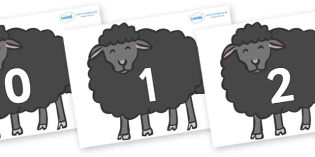 Numbers 0-50 on Baa Baa Black Sheep - 0-50, foundation stage numeracy, Number recognition, Number flashcards, counting, number frieze, Display numbers, number posters