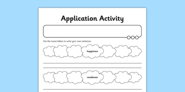 Application Activity Sheet Forming Nouns using ness - GPS, spelling, grammar, nouns, verbs, suffixes, ness, worksheet