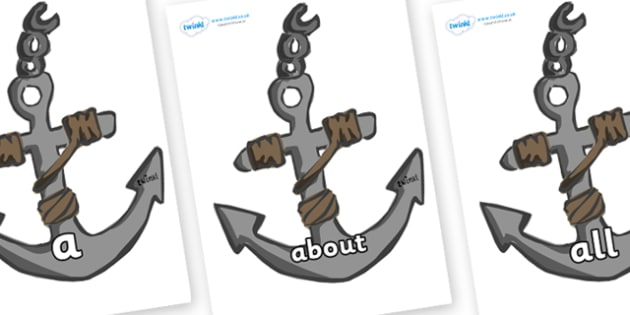 100 High Frequency Words on Anchors - High frequency words, hfw, DfES Letters and Sounds, Letters and Sounds, display words