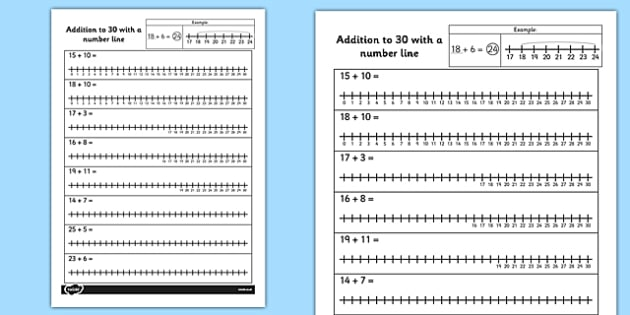 Addition to 30 with a Number Line Activity Sheet number line – Addition with Number Line Worksheet