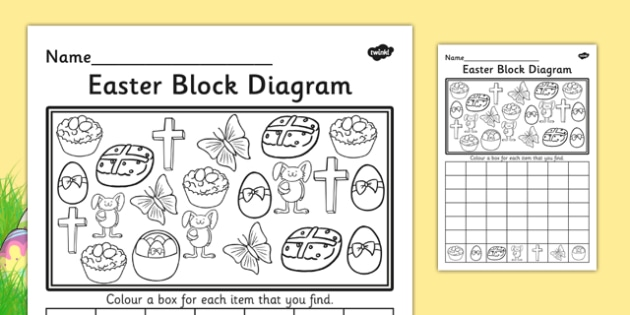 Easter Block Diagram Activity Sheet - graphs, record, activities, worksheet