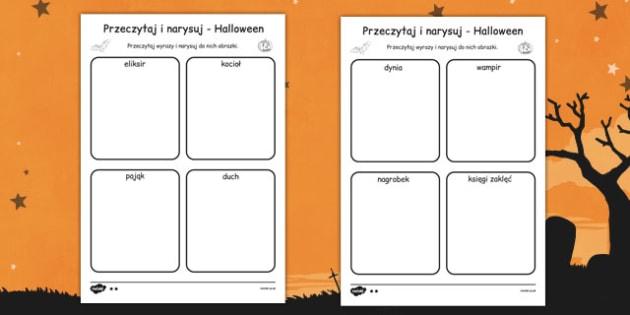 Przeczytaj i narysuj Halloween po polsku - wypisywanka