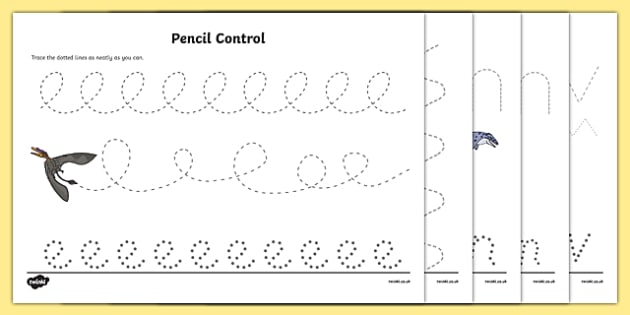 Realistic Dinosaurs Pencil Control Sheets - dinosaurs, sheets, fine motor, drawing, pencil control