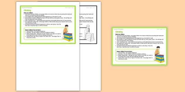 Foundation PE (Reception) - Climbing Teacher Support Card - EYFS, PE, Physical Development, Planning