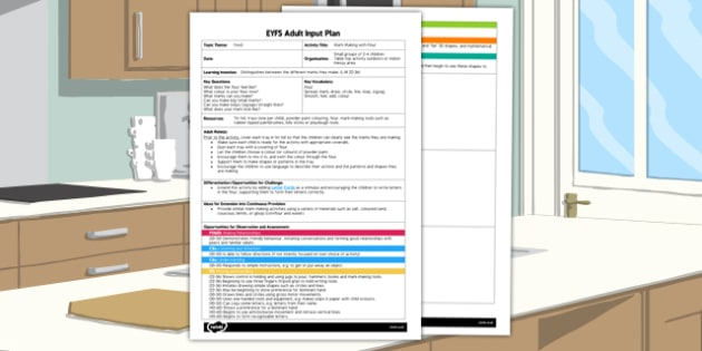 EYFS Mark Making in Flour Adult Input Plan - EYFS planning, early years activities, food, fine motor skills, writing, Physical, pd