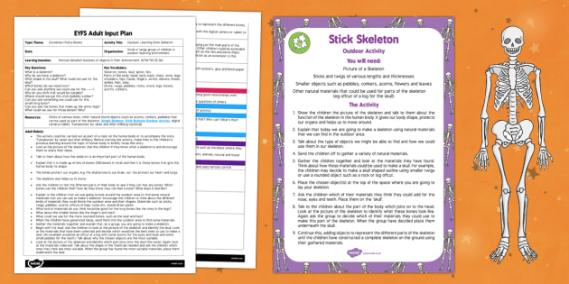 EYFS Outdoor Learning Stick Skeleton Adult Input Plan and Resource Pack