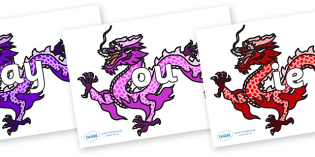 Phase 5 Phonemes on Chinese Dragons (Multicolour) - Phonemes, phoneme, Phase 5, Phase five, Foundation, Literacy, Letters and Sounds, DfES, display