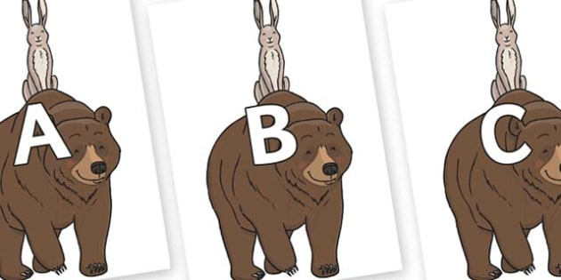 A-Z Alphabet on Bear and the Hare - A-Z, A4, display, Alphabet frieze, Display letters, Letter posters, A-Z letters, Alphabet flashcards
