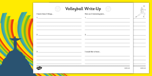 The Olympics Volleyball Write Up Worksheet - the olympics, rio olympics, rio 2016, 2016 olympics, volleyball, write up