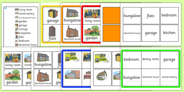 Houses and Homes Bingo - houses, homes, bingo, activity, game