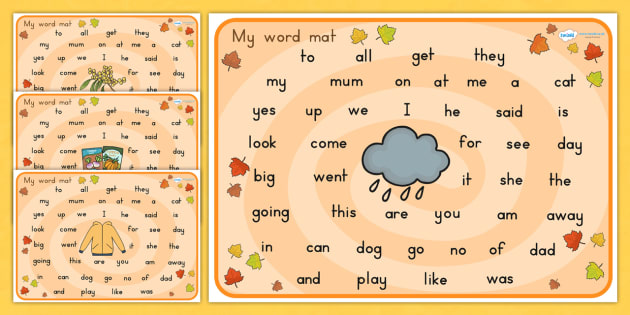 Autumn Themed Prep Word Mat - seasons, visual aid, weather, write
