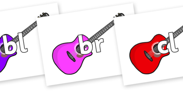 Initial Letter Blends on Guitars - Initial Letters, initial letter, letter blend, letter blends, consonant, consonants, digraph, trigraph, literacy, alphabet, letters, foundation stage literacy