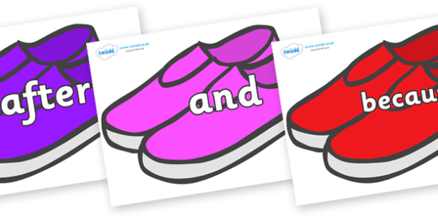 Connectives on Shoes - Connectives, VCOP, connective resources, connectives display words, connective displays