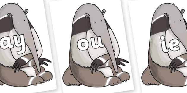 Phase 5 Phonemes on Anteater to Support Teaching on The Great Pet Sale - Phonemes, phoneme, Phase 5, Phase five, Foundation, Literacy, Letters and Sounds, DfES, display