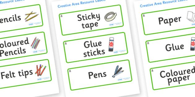 Monkey Puzzle Tree Themed Editable Creative Area Resource Labels - Themed creative resource labels, Label template, Resource Label, Name Labels, Editable Labels, Drawer Labels, KS1 Labels, Foundation Labels, Foundation Stage Labels