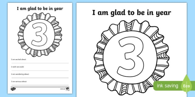 Im Glad to be in Year 3 Writing Frame - writing template, write