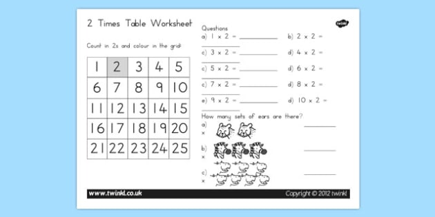 Two Times Table Worksheet - australia, two times table, worksheet, times table, times tables