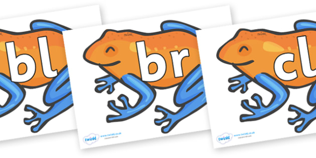 Initial Letter Blends on Tree Frogs - Initial Letters, initial letter, letter blend, letter blends, consonant, consonants, digraph, trigraph, literacy, alphabet, letters, foundation stage literacy