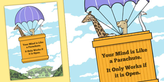 Your Mind is Like a Parachute Motivational Poster - motivational