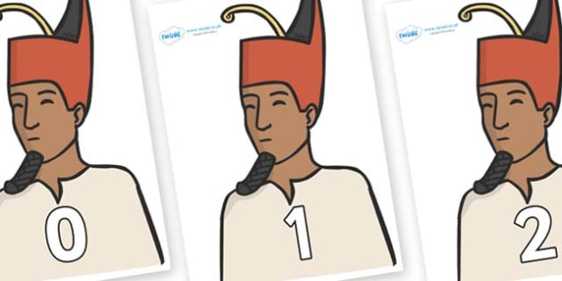 Numbers 0-31 on Egyptian Kings - 0-31, foundation stage numeracy, Number recognition, Number flashcards, counting, number frieze, Display numbers, number posters