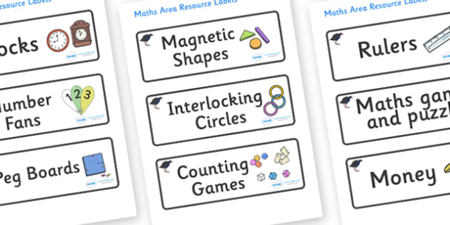 Pukeko Themed Editable Maths Area Resource Labels - Themed maths resource labels, maths area resources, Label template, Resource Label, Name Labels, Editable Labels, Drawer Labels, KS1 Labels, Foundation Labels, Foundation Stage Labels, Teaching Labe