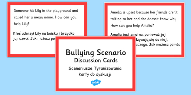 How Can You Help? Scenario Discussion Cards Polish Translation - polish, bullying, scenario, discussion, cards