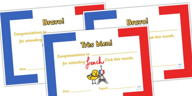 French Club Certificates - french club, certificates, reward, award, reward certificates, certificate template, behaviour management, class management