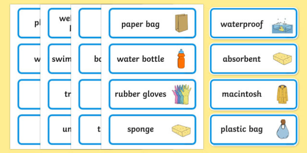 Waterproof or Not Word Cards - Waterproof, word card, card, flashcards, non-waterproof, not waterproof, science, materials, investigation, properties, activity, game