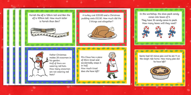Year 2 Christmas Word Problem Challenge Cards - challenge cards