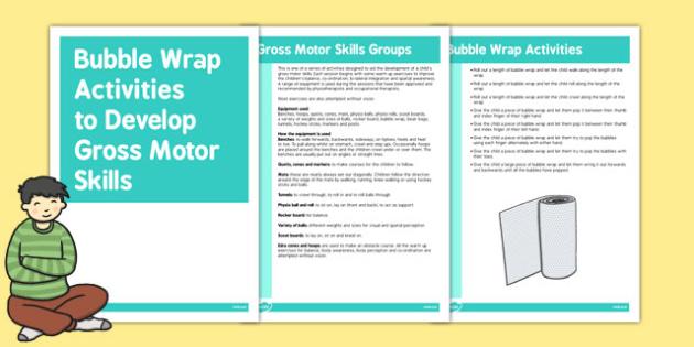Bubble Wrap Gross Motor Skills Activities - gross motor skills