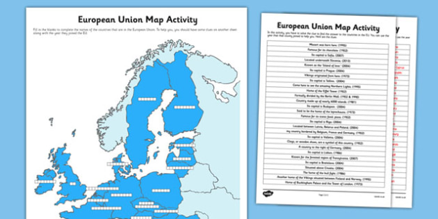 European Union Map Activity - european union, referendum, european, union