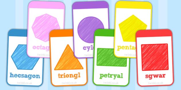 Cardiau Fflach Siapiau 2D - 2d, shapes, flashcards, welsh, cards