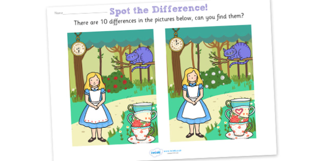 Alice in Wonderland Spot the Difference Activity - alice in wonderland, alice in wonderland spot the difference, spot the difference, activity