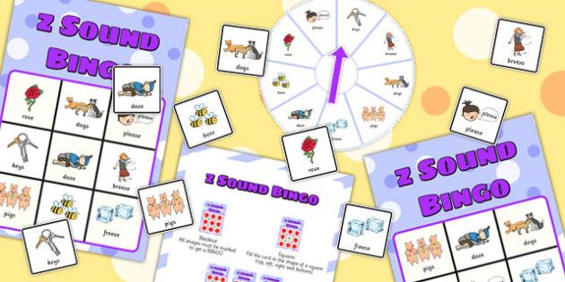 Final 'Z' Sound Spinner Bingo - final z sound, z sound, SLT, SALT