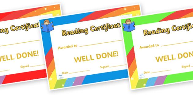 Reading Award Certificate - Reading award, Literacy award, good reading, reward, award, certificate, medal, rewards, school reward