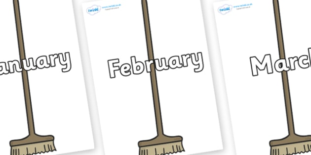 Months of the Year on Brushes - Months of the Year, Months poster, Months display, display, poster, frieze, Months, month, January, February, March, April, May, June, July, August, September