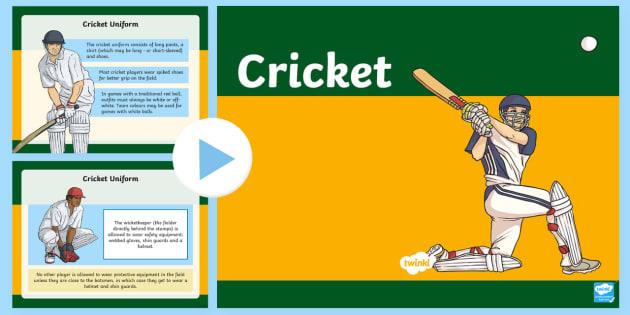 Cricket PowerPoint - Cricket, sport, PE, games, ashes, batsman, Australia, physical education,Australia