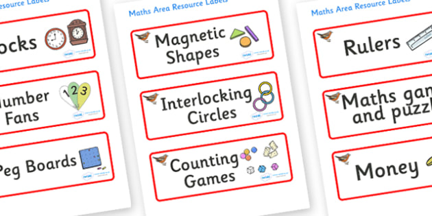 Chaffinch Themed Editable Maths Area Resource Labels - Themed maths resource labels, maths area resources, Label template, Resource Label, Name Labels, Editable Labels, Drawer Labels, KS1 Labels, Foundation Labels, Foundation Stage Labels, Teaching L