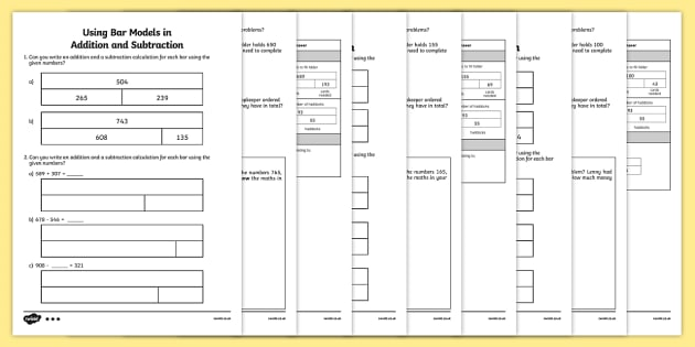 Bar Modelling Addition and Subtraction Activity Sheet Pack Year 3 - Key Stage 2, KS2, Year 3, bar models, bar modelling, Singapore bar, addition, subtraction, missing number calculations, inverse, word problems, worksheet