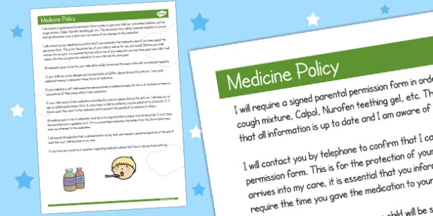 Childminder Medicine Policy - policy, child minder, medicine