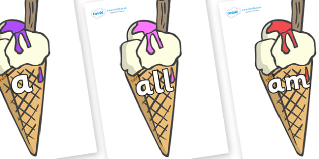 Foundation Stage 2 Keywords on Ice Creams to Support Teaching on The Very Hungry Caterpillar - FS2, CLL, keywords, Communication language and literacy,  Display, Key words, high frequency words, foundation stage literacy, DfES Letters and Sounds, Let