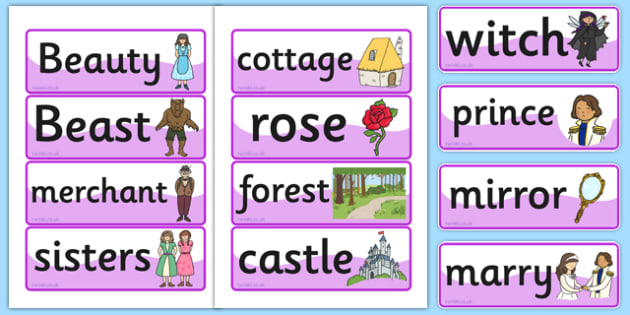 Beauty and the Beast Word Cards - traditional tales, visual aid