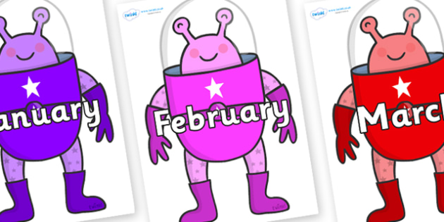 Months of the Year on Alien - Months of the Year, Months poster, Months display, display, poster, frieze, Months, month, January, February, March, April, May, June, July, August, September
