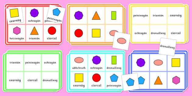 2D Shape Bingo Gaeilge - gaeilge, roi, 2d shape, bingo, game, activity, shape, 2d, maths, numeracy