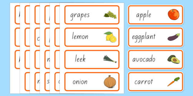 New Zealand Fruit and Vegetable Shop Role Play Word Cards